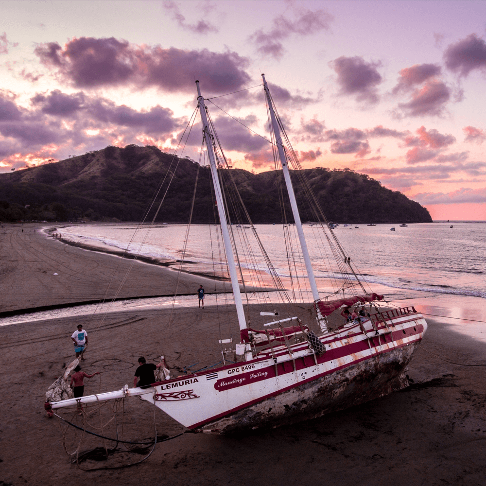 Sailboat out of water on the beach