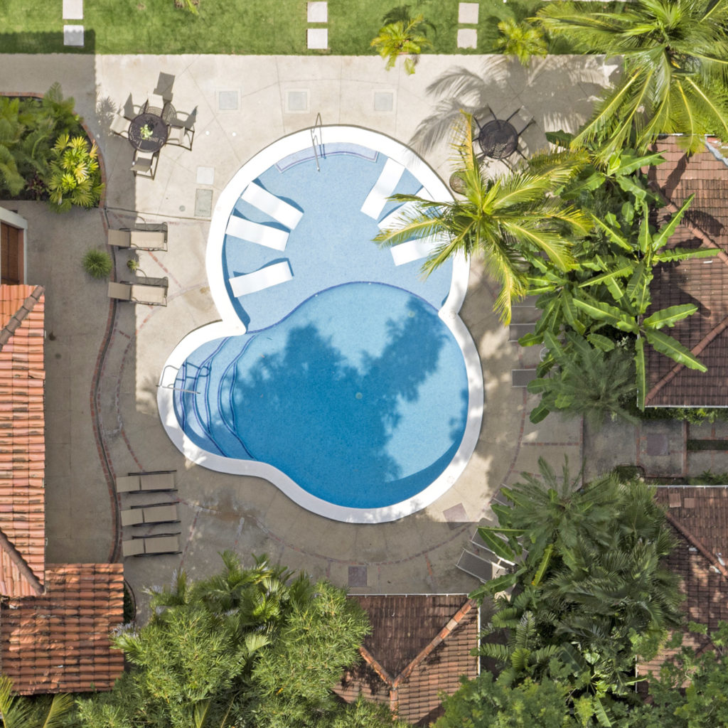 Aerial shot directly above the hotel pool